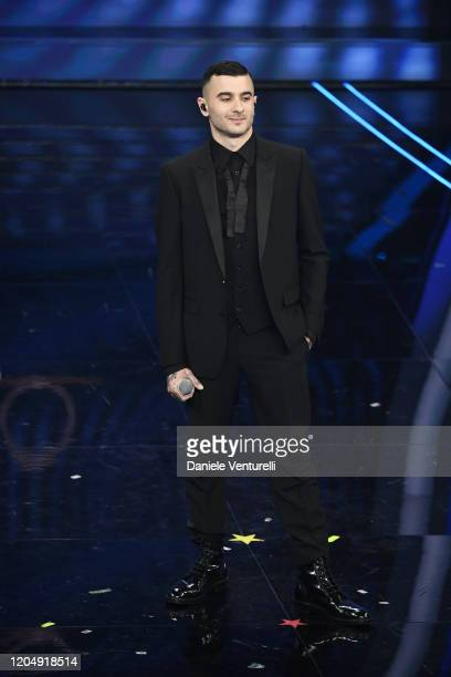 Junior Cally attends the 70° Festival di Sanremo at Teatro Ariston on February 08, 2020 in Sanremo, Italy.