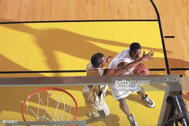 Junior College Basketball: Aerial view of College of Southern Idaho Kenny Brunner in action vs Colorado Northwest Community College. Brunner...