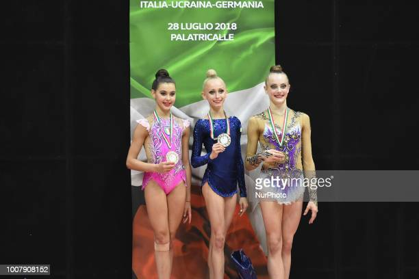 Junior competition podium of the Rhythmic Gymnastics pre World Championship Italy-Ukraine-Germany at Palatricalle on 29th of July 2018 in Chieti...