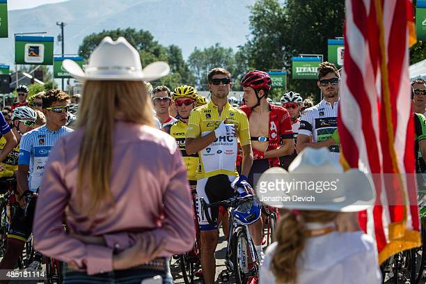 Junior cowgirls on the start line for the national anthem during stage 2 of the Tour of Utah on August 4 2015 in Tremonton Utah