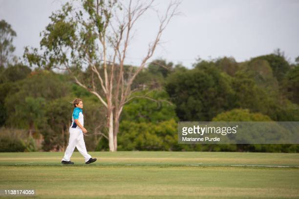 junior cricket on a local oval - cricket field stock pictures, royalty-free photos & images