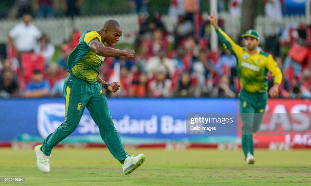 Junior Dala of South Africa celebrates after dismissing Captain Virat Kohli of India during the 2nd KFC T20 International match between South Africa and India at SuperSport Park on February 21, 2018 in Pretoria, South Africa.