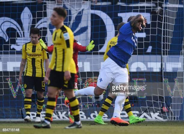 Junior Diaz of Darmstadt celebrates after scoring his team's first goal during the Bundesliga match between SV Darmstadt 98 and Borussia Dortmund at...