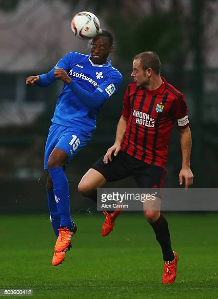 Junior Diaz of Darmstadt is challenged by Frank Loening of Chemnitz during a friendly match between SV Darmstadt 98 and Chemnitzer FC on January 6,...