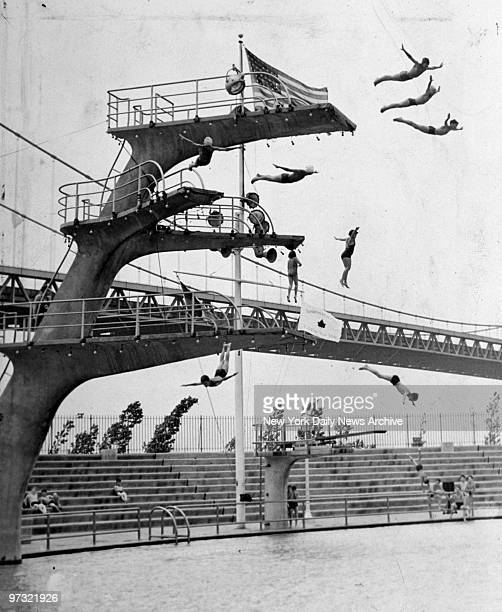 Junior divers take the plunge in formation from all levels of the Astoria Pool at 19th St and 23rd Dr in Astoria Queens The top diving platform is 33...