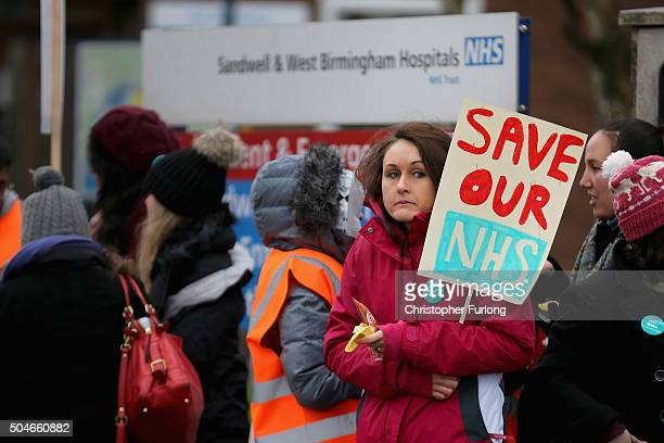 Junior Doctors and supporters picket outside Sandwell General Hospital in West Bromwich as they and other doctors stage a 24-hour strike across the...
