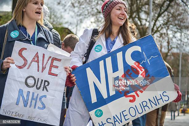 Junior doctors participating in the allout strike outside Manchester Royal Infirmary in Manchester Greater Manchester England United Kingdom on...