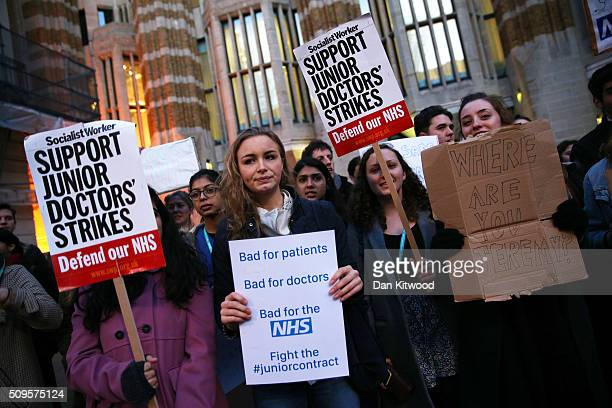 Junior Doctors protest outside the Department of Health at the Government's intention to impose new contracts on February 11 2016 in London England...