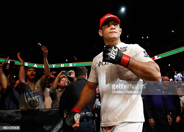 Junior dos Santos is introduced to his heavyweight bout against Stipe Miocic during the UFC Fight Night event at the at US Airways Center on December...