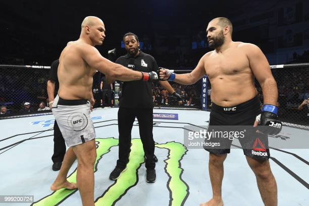 Junior Dos Santos of Brazil and Blagoy Ivanov touch gloves before their heavyweight fight during the UFC Fight Night event inside CenturyLink Arena...