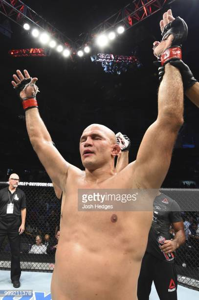 Junior Dos Santos of Brazil celebrates after defeating Blagoy Ivanov by unanimous decision after their heavyweight fight during the UFC Fight Night...