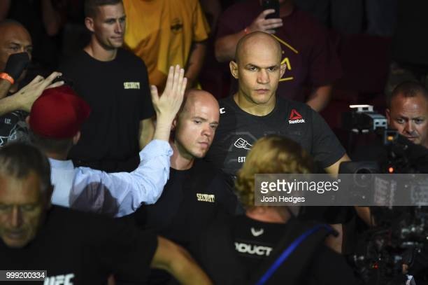 Junior Dos Santos of Brazil enters the arena prior to facing Blagoy Ivanov in their heavyweight fight during the UFC Fight Night event inside...