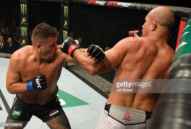 Junior Dos Santos of Brazil punches Tai Tuivasa of Australia in their heavyweight bout during the UFC Fight Night event inside Adelaide Entertainment...