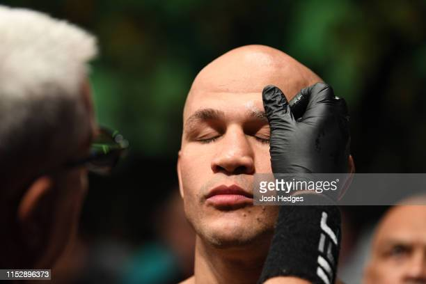 Junior Dos Santos of Brazil walks out towards the Octagon prior to facing Francis Ngannou of Cameroon in their heavyweight bout during the UFC Fight...