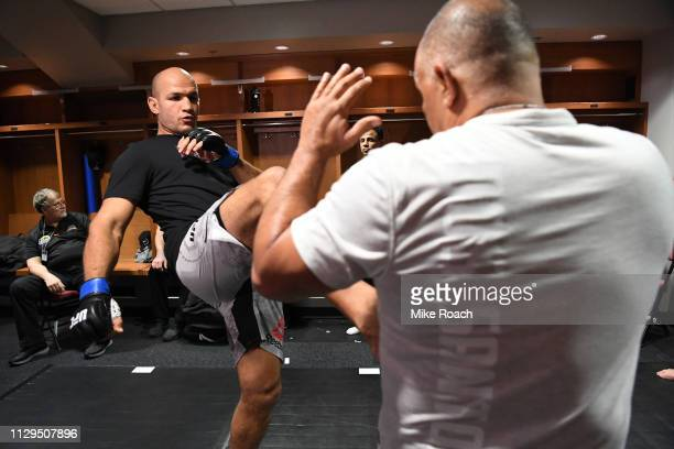 Junior Dos Santos of Brazil warms up backstage during the UFC Fight Night event at Intrust Bank Arena on March 9 2019 in the Wichita Kansas