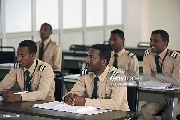 Junior Ethiopian pilots listen to a lesson in a classroom on the campus of the Ethiopian Airlines flight academy in Addis Ababa on October 13 2015...