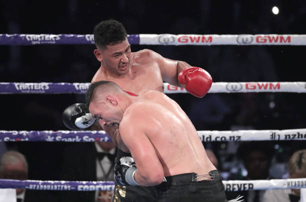 Junior Fa and Joseph Parker trade punches during the heavyweight bout between Joseph Parker and Joshua Fa at Spark Arena on February 27, 2021 in...