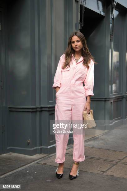 Junior fashion editor at Harpers Bazaar Uk and Town and country Florrie Thomas wearing an Asos jumpsuit Dior shoes and a Max V Koenig bag on day 2 of...