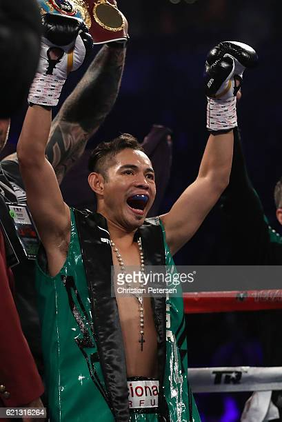 WBO junior featherweight champion Nonito Donaire of the Philippines is introduced in the ring prior to title defense against Jessie Magdaleno at the...