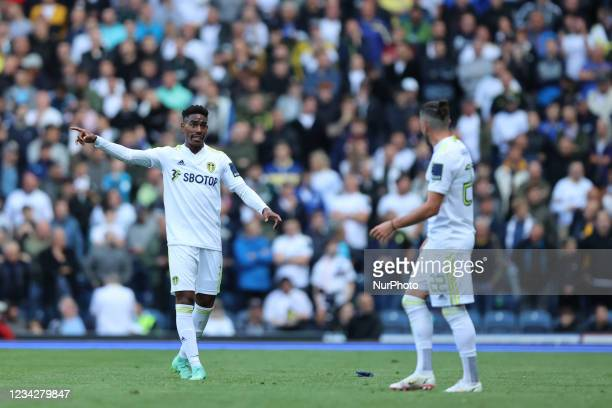 Junior Firpo of Leeds United remonstrates with Jack Harrison of Leeds United during the Pre-season Friendly match between Blackburn Rovers and Leeds...