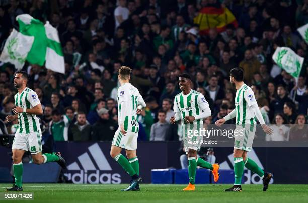 Junior Firpo of Real Betis Balompie celebrates after Nacho Fernandez of Real Madrid scored an own goal during the La Liga match between Real Betis...