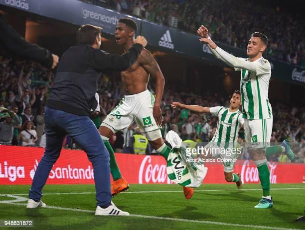 Junior Firpo of Real Betis Balompie celebrates after scoring during the La Liga match between Real Betis and Las Palmas at Estadio Benito Villamarin...