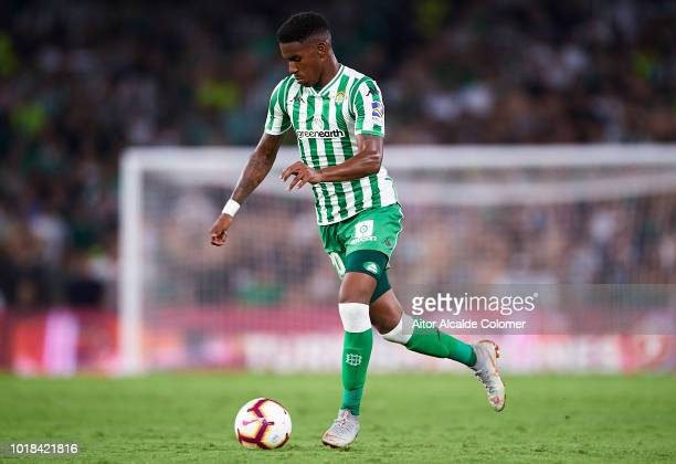 Junior Firpo of Real Betis Balompie in action during the La Liga match between Real Betis Balompie and Levante UD at Estadio Benito Villamarin on...