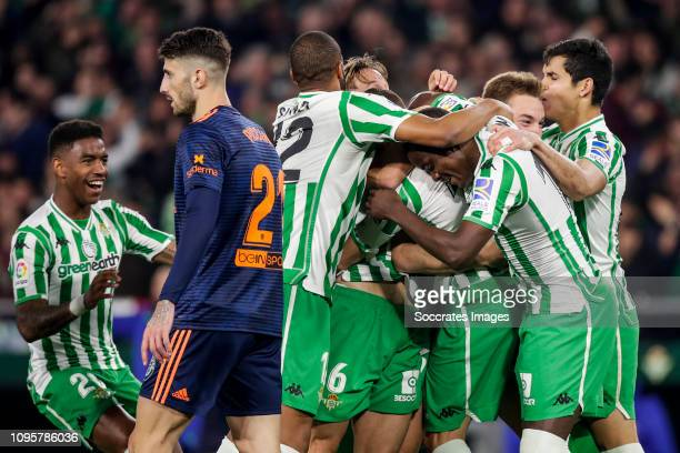Junior Firpo of Real Betis Cristiano Piccini of Valencia CF Sidnei of Real Betis Lorenzo Moron of Real Betis Joaquin of Real Betis William Carvalho...