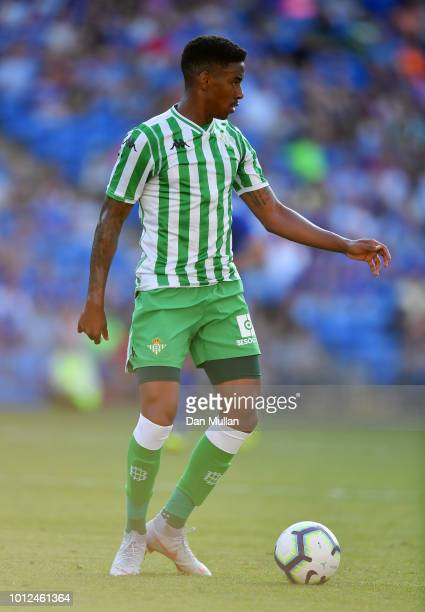 Junior Firpo Of Real Betis looks for support during the PreSeason Friendly match between Cardiff City and Real Betis at Cardiff City Stadium on...