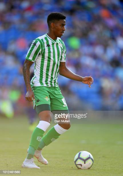 Junior Firpo Of Real Betis looks for support during the Pre-Season Friendly match between Cardiff City and Real Betis at Cardiff City Stadium on...