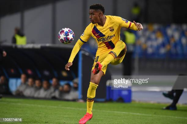 Junior Firpoof FC Barcelona during the UEFA Champions League round of 16 first leg match between SSC Napoli and FC Barcelona at Stadio San Paolo...