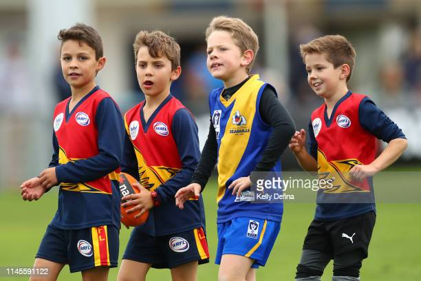 Junior footballers are seen during the round 4 VFL match between Williamstown Seagulls and Footscray Bulldogs on April 28, 2019 in Melbourne,...