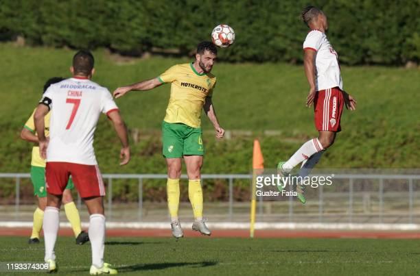Junior Franco of CD Mafra in action during the Liga Pro match between CD Mafra and UD Vilafranquense at Estadio do Parque Desportivo Municipal de...