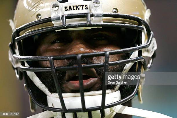 Junior Galette of the New Orleans Saints on the field before the start of the game against the Carolina Panthers at MercedesBenz Superdome on...