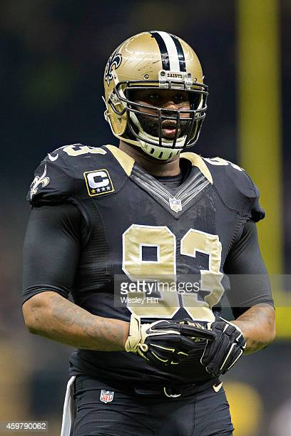 Junior Galette of the New Orleans Saints on the field in the first quarter during a game against the Baltimore Ravens at MercedesBenz Superdome on...