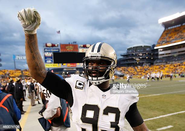 Junior Galette of the New Orleans Saints reacts after 3532 win over the Pittsburgh Steelers at Heinz Field on November 30 2014 in Pittsburgh...