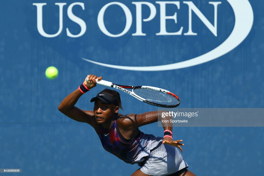 Junior Girls Cori Gauff (USA) during day nine match of the 2017 US Open tennis tournament on September 5, 2017, at Billie Jean King National Tennis Center in Flushing Meadow, NY.