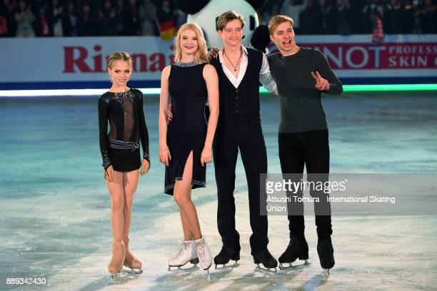 Junior Gold medalists Alexandra Trusova of Russia Anastasia Skoptcova and Kirill Aleshin of Russia and Alexei Krasnozhon of the USA pose for photo...