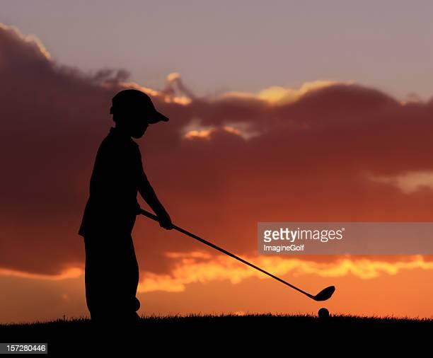 junior-golfer 2 - golfschläger stock-fotos und bilder