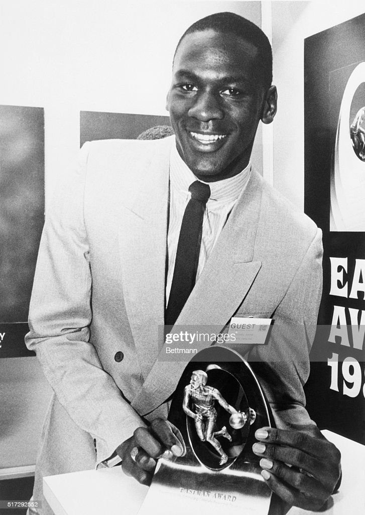 Junior guard Michael Jordan of the University of North Carolina accepts the Eastman Award as the nation's top collegiate basketball player. March 27, 1984.