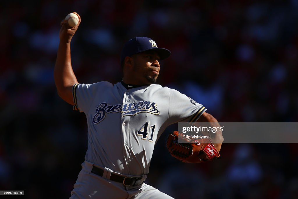 Junior Guerra #41 of the Milwaukee Brewers delivers a pitch against the St. Louis Cardinals in the second inning at Busch Stadium on September 30, 2017 in St. Louis, Missouri.