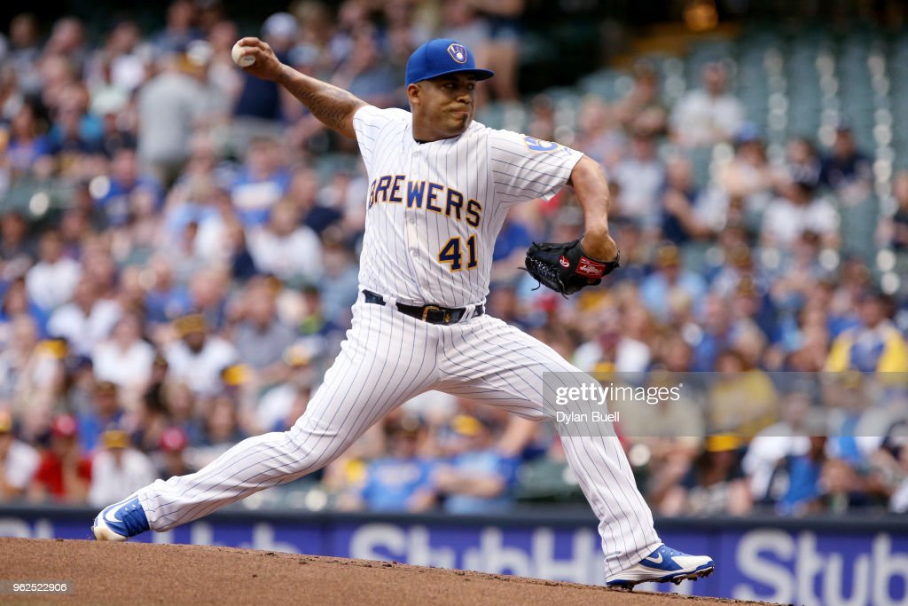 Junior Guerra #41 of the Milwaukee Brewers pitches in the first inning against the New York Mets at Miller Park on May 25, 2018 in Milwaukee, Wisconsin.