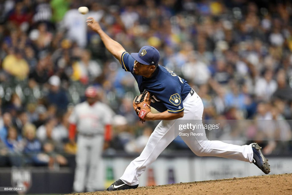 Junior Guerra #41 of the Milwaukee Brewers throws a pitch during the sixth inning of a game against the Cincinnati Reds at Miller Park on September 27, 2017 in Milwaukee, Wisconsin.