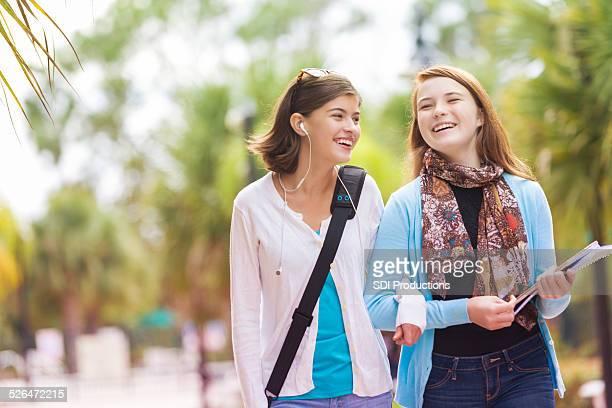 Junior high school students walking home after class
