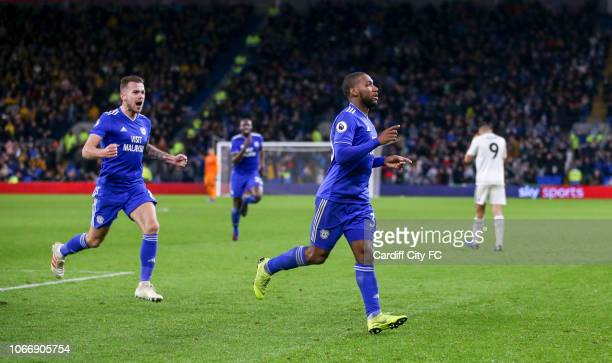 Junior Hoilett celebrates scoring the second goal for Cardiff City FC during the Premier League match between Cardiff City and Wolverhampton...