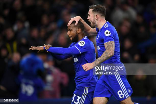 Junior Hoilett celebrates the second goal for Cardiff City during the Premier League match between Cardiff City and Wolverhampton Wanderers at...