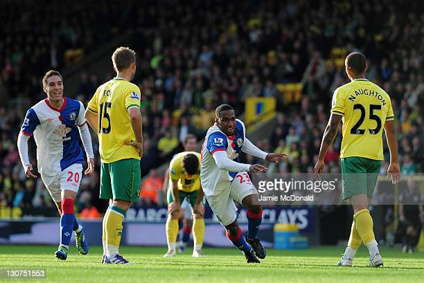 Junior Hoilett of Blackburn Rovers scores a goal during the Barlclays Premier League match between Norwich City and Blackburn Rovers at Carrow Road...