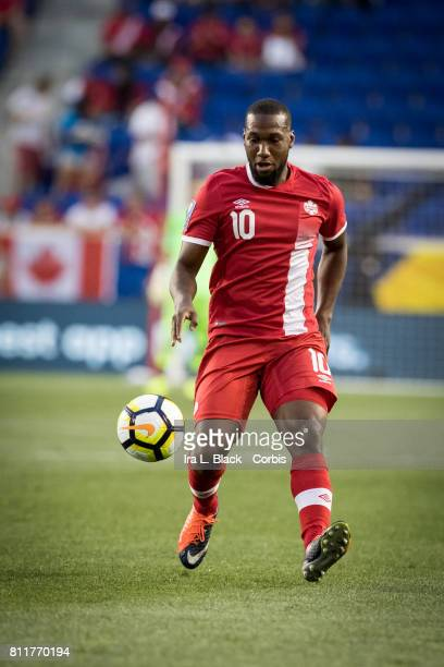 Junior Hoilett of Canada keeps his eye on the ball during the CONCACAF Gold Cup Match between Canada and French Guiana at the Red Bull Arena on July...