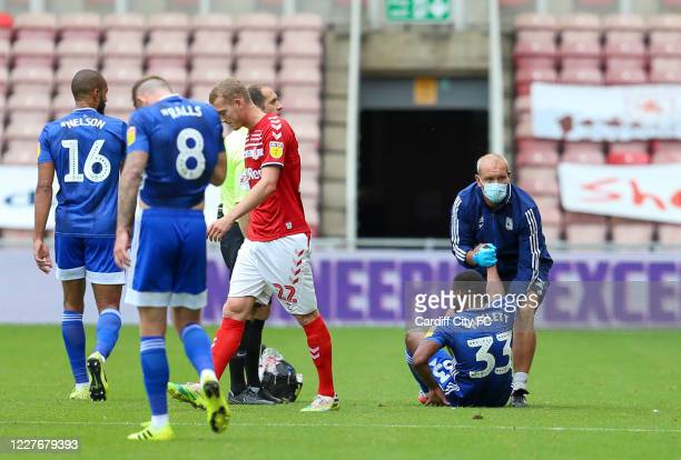Junior Hoilett of Cardiff City FC leaves the pitch due to injury during the Sky Bet Championship match between Middlesbrough and Cardiff City at...