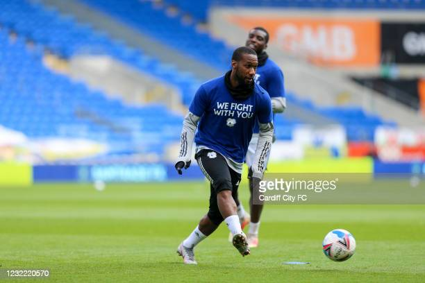 Junior Hoilett of Cardiff City FC warming up before the Sky Bet Championship match between Cardiff City and Blackburn Rovers at Cardiff City Stadium...